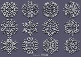 Vector Uppsättning av 12 Vita snöflingor