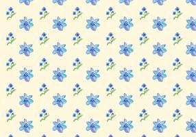 Aquarell Blaue Blumen Free Vector Seamless Pattern
