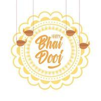 glad bhai dooj. blommig mandala och hängande diyalampor vektor