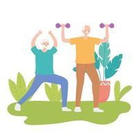 ältere Männer trainieren im Freien vektor