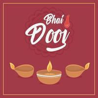 Happy Bhai Dooj, brennende Diya Lampen Lichter