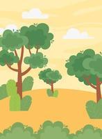 landskap, träd, lövverk, löv, buske vid solnedgångshimlen