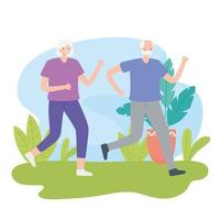 älteres Ehepaar läuft im Freien
