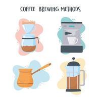 kaffebryggningsmetoder Ikonuppsättning