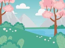 landskap rosa träd, blommor, sjö, buske och äng