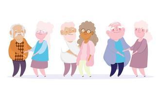 söta par av farfar och mormor tillsammans