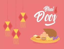 glücklich bhai dooj. hängende Laternen und traditionelles Essen