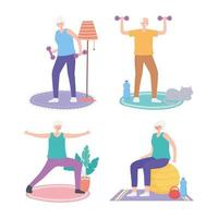 ältere Menschen, die Indoor-Aktivitäten ausführen