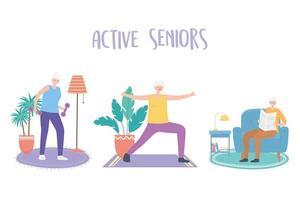 ältere Menschen, die Indoor-Aktivitäten ausführen vektor
