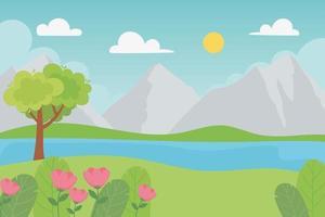 landskap steniga berg med träd och blommor