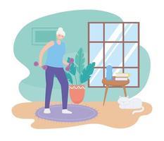 ältere Frau, die Gewicht drinnen hebt vektor