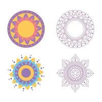 Satz von Blumenmandala-Dekoration isoliertes Design vektor