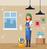 kvinnlig hushållsarbetare med hink vektor