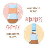 Kaffeezubereitungsmethoden. Chemex- und Aeropress-Prozesse vektor