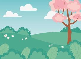 Landschaftsvegetation, Blumen, Büsche, Feld und Baum