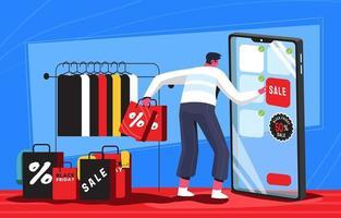 svart fredag shoppingobjekt med en smartphone