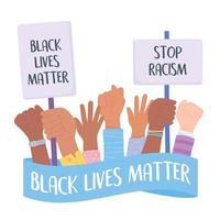 svarta liv spelar roll och stoppar kampanjen för medvetenhet om rasism