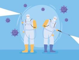 Desinfektionskonzept mit Personen in Schutzanzügen vektor