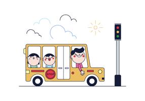 Gratis skolbussvektor vektor