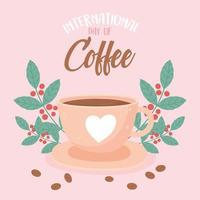 internationaler Kaffeetag. Getränke, frische Samen und Blätter