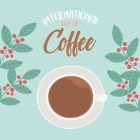 internationaler Kaffeetag. Tasse Draufsicht und Zweige