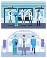 Gruppe von Ärzten im Krankenhaus mit Gesichtsmasken vektor