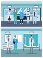 Gruppe von Ärzten, die medizinische Masken tragen vektor