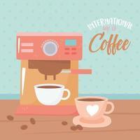 internationaler Kaffeetag. Maschine und Tassen mit Samen
