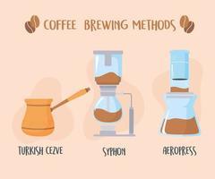 verschiedene Kaffeezubereitungsmethoden vektor