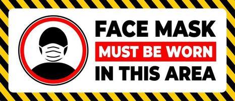 In diesem Bereich muss eine Gesichtsmaske getragen werden vektor