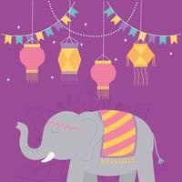 elefant och lyktor för diwali festival fest vektor