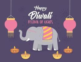 elefant och lampor för diwali festival fest vektor