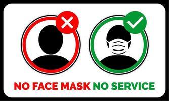 ingen ansiktsmask, ingen servicevarning vektor