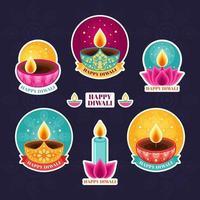 färgglad glad diwali ljus klistermärke samling