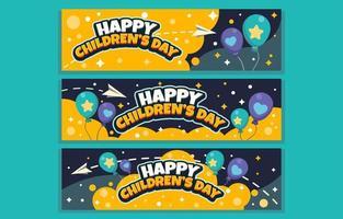 gelbes Banner zum Feiern des Kindertages vektor