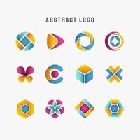 olika blå kricka gul lila abstrakt logotyp