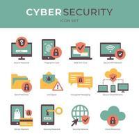 skydd mot cyberhackning och säkerhetsikoner vektor