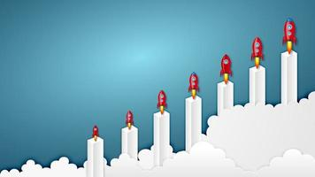 Raketenstart auf Bargraph-Investitions- und Erfolgskonzept vektor