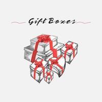 handgezeichnete Skizze Stil Geschenkboxen gesetzt