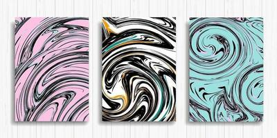 flytande rosa, vitt och blått bläck design kort set vektor