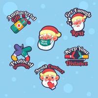 klistermärkepaket med santa och jul med protokoll vektor
