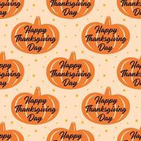 lycklig tacksägelse orange pumpa sömlösa mönster
