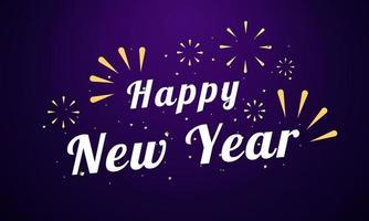 gott nytt år kort med gnistrande fyrverkeri design vektor