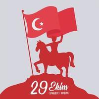Tag der Türkei Republik. Reitpferd des Soldaten der roten Silhouette vektor