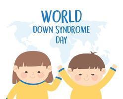 Welt-Down-Syndrom-Tag. Mädchen, Junge und Karte