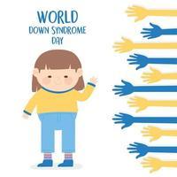 Welt-Down-Syndrom-Tag. Mädchen und ausgestreckte Hände