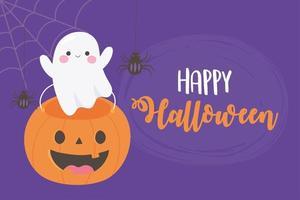 Fröhliches Halloween. Geist, kürbisförmiger Eimer und Spinnen