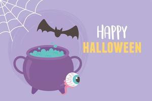 Fröhliches Halloween. Kessel, Fledermaus, Spinnennetz und gruseliges Auge