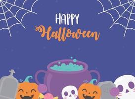 Fröhliches Halloween. Kürbisse, Kessel, Schädel, Grabstein und Spinnennetz