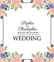 Hochzeitseinladung mit Blumenrahmen vektor